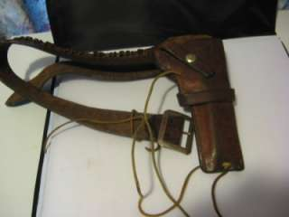 Geo. Lawrence Cowboy Western Leather Gun Cartridge belt w/holster ammo