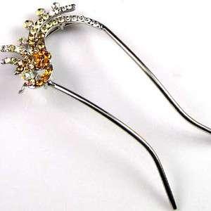 1pc Austrian rhinestone crystal phoenix hair fork