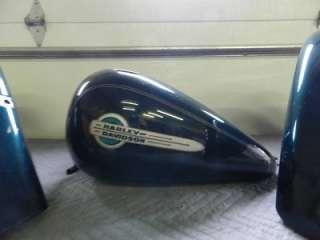 02 Harley FLSTC Heritage Softail Paint Set Jade Sunglo Tank Fenders