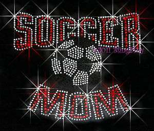 SOCCER MOM RHINESTONE IRON ON TRANSFER HOT FIX BLING