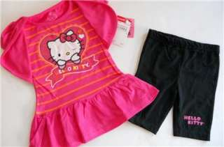 HELLO KITTY Girls 2T 3T 4T Set OUTFIT Shirt Top Shorts Tunic