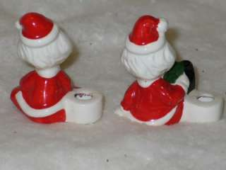 Vintage Christmas Ceramic Santa Candle Holders Japan