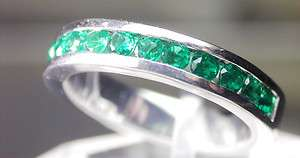 SOLID GOLD EMERALD CHANNEL SET HALF ETERNAL BAND RING WOW