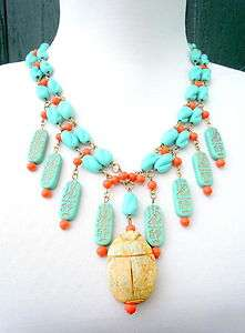 EGYPTIAN REVIVAL VINTAGE SCARAB FRINGE NECKLACE TURQUOISE & CORAL