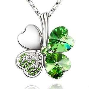 Heart Shaped Four Leaf Clover Shamrock Charm Pendant Necklace Elegant