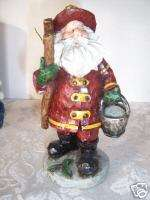 SANTA FIREMAN & LADDER CHRISTMAS FIGURINE DECORATION