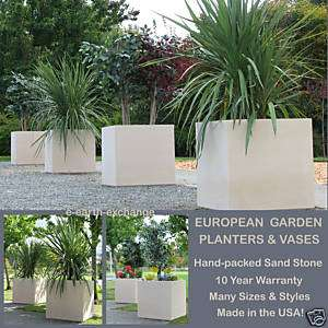 Square YARD PLANTER Outdoor Landscape Vase SAND STONE