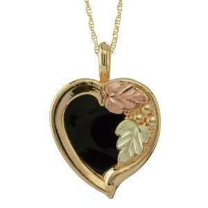 mm Heart shaped Onyx Stone from Black Hills Gold by Coleman Jewelry