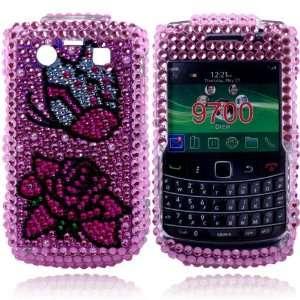 lotus flower Crystal Diamond Bling Case Cover for Blackberry 9700