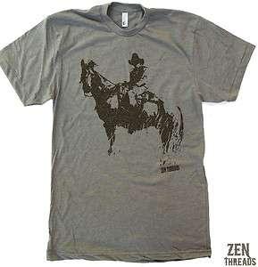 Mens COWBOY & HORSE screen printed american apparel t shirt tee S M L