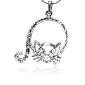 Kitty Crystal Cat Pendant Necklace Fashion Jewelry Jewelry