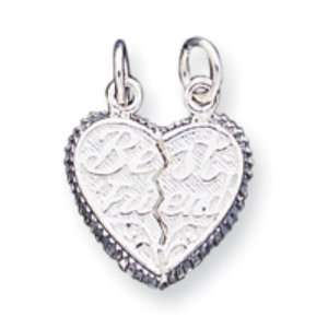 Sterling Silver Best Friend 2 piece Break apart Heart Charm Jewelry