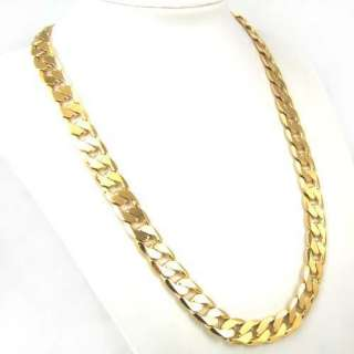 24k yellow gold filled mens necklace 24 curb chain 106g GF jewelry