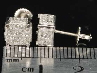 MENS WHITE GOLD .3C YELLOW DIAMOND CUBE STUD EARRINGS