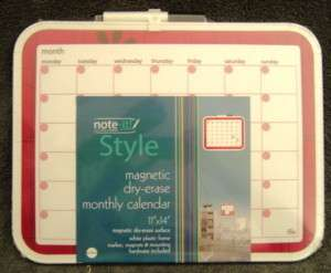 NEW PINK MAGNETIC DRY ERASE MONTHLY CALENDAR 11 X 14
