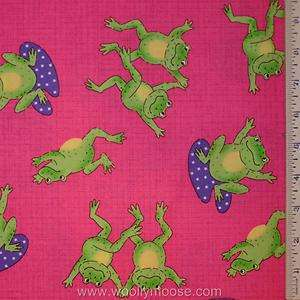 LARGE Green Frogs HOT PINK w/ LILLY PADS Quilt Fabric 1/2 YD