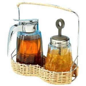 Collection Wicker & Wire Syrup & Jam Jar Caddy Set Kitchen & Dining