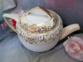 NIPPON gold beaded TEA POT luster ware HAND Painted