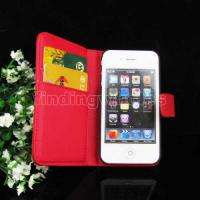 WALLET CASE LEATHER SKIN POUCH COVER +SCREEN PROTECTOR FOR iPhone 4 4G
