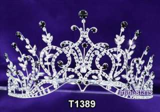 Bridal Wedding Pageant Black Crystal Tall Tiara Crown AT1389
