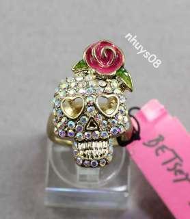 Free Ship Betsey Johnson Skull Necklaces Earrings Ring Set