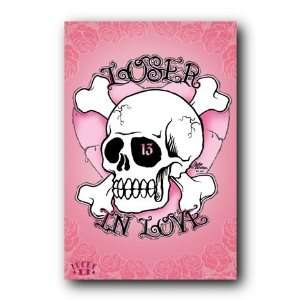 Loser In Love Poster Lucky 13 Skull Pink Heart 33416:  Home