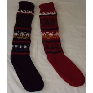 2 pairs SOCKS 30% ALPACA 70% BLEND navy blue and red made
