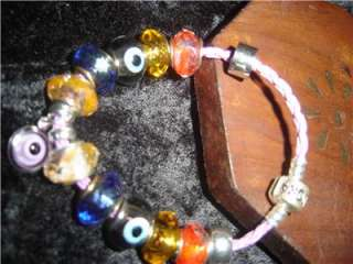 Evil Eye protection charm bracelet   leather Pandora bracelet