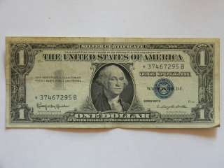 1957B One Dollar Silver Certificate Blue Seal Star * Note in Very Good