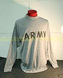 US ARMY Grey Army PT LONG SLEEVED T Shirt MEDIUM NICE