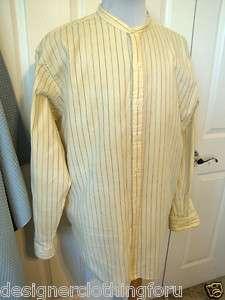 Polo Ralph Lauren Striped Shirt Bernard Heavy Cotton Size Large Yellow
