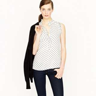 Natasha top in polka dot   sleeveless   Womens shirts & tops   J.Crew
