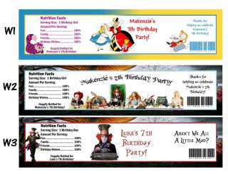 Alice in Wonderland ~ Printed Water Bottle Labels ~ Birthday Party