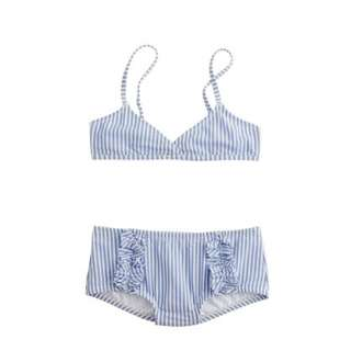 Girls bikini set in seersucker   two pieces   Girls swim   J.Crew