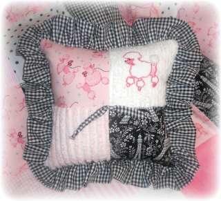 Paris Poodle Fifi pink chenille baby quilt crib bedding