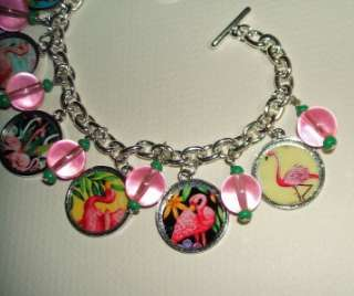 PINK FLAMINGO Charm BRACELET Tropical Altered Art