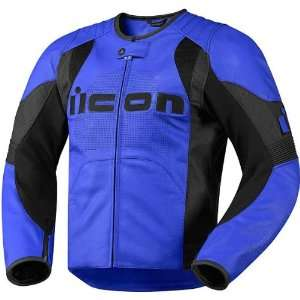 Icon Overlord Mens Leather On Road Motorcycle Jacket   Blue / X Large