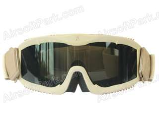 Tactical Anti fog Full Set Goggle Glasses with 3pc of Lens Tan