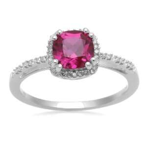 Gold, July Birthstone, Created Ruby and Diamond Cushion Ring, Size 7