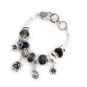 Metal with Black Beads; Flower Charms; Lobster Clasp Closure Jewelry
