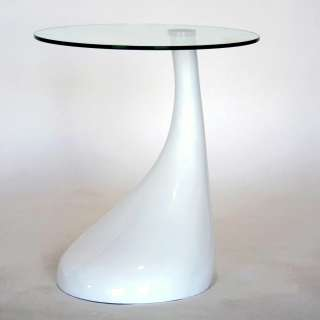 Modern Plastic Round Drop End Glass Small Coffee Table