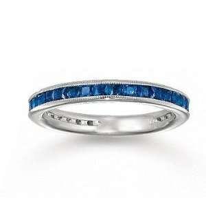 14k White Gold Channel Blue Sapphire Diamond Stackable