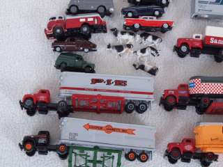 /Athearn + N Scale Large Lot of Cars/Trucks/Tractor Trailer