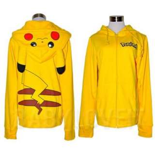 Japan Pokemon Pikachu Ears Face Tail Zip Hoody Sweatshirt Hoodie