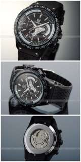 New Mechanical Semi Auto/Automatic Skeleton/6 Hand Black/Silver Band