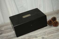 Black Wood Keepsake Box or Document Box Brushed Silver Hardware