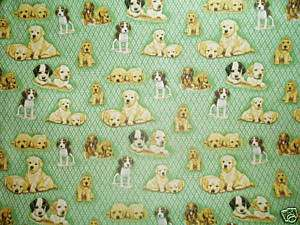 Dog puppy baby toddler sheet set green puppies doggie