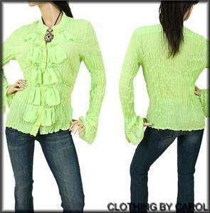 Kaelyn Max Womens Green Ruffle Front Career Blouse 3XL