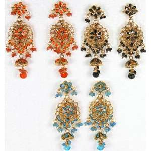Lot of Three Polki Post Earrings with Colored Glass   Copper Alloy
