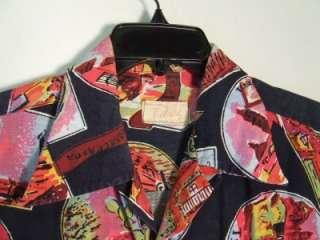 40s 50s Vintage MEXICAN NOVELTY PRINT Incredible Mens Shirt L XL 51